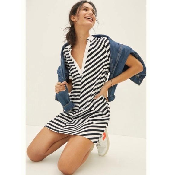 Anthropologie Maeve Striped Polo Rugby Mini Dress